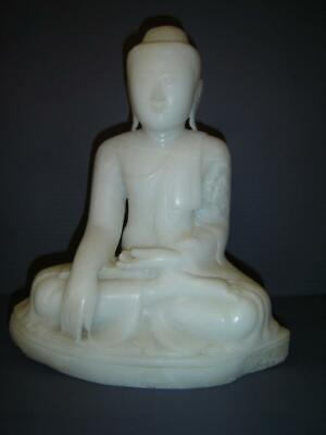 Antique Chinese Carved Large White Marble Seating Guanyin Buddha Dhyana Mudra 观音