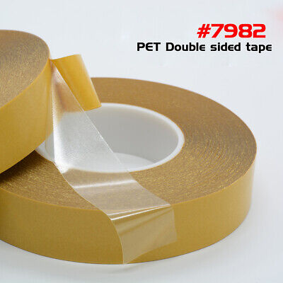 50M*3-50mm Yellow Film Clear PET Double-sided Sticky Adhesive Tape 0.1mm Thick