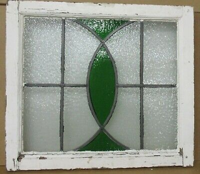 "OLD ENGLISH LEADED STAINED GLASS WINDOW Abstract Ellipse Design 23.5"" x 20.75"""