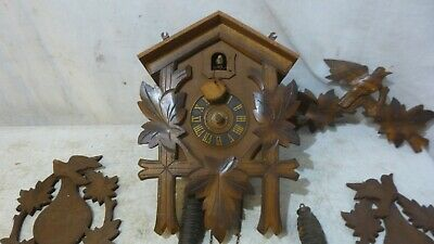 VTG Original Cuckoo Clock Hand carved wood birds and leaves West Germany AS IS