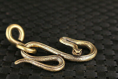 Chinese rare bronze hand casting snake statue unique collect car key pendant