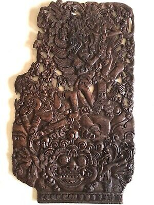 """Antique Vintage Asian Wood Hand Carved Wall Plaque""""Fu Dragon Warriors +"""