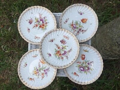 "5 Rare 19th Century Dresden Hand Painted 7"" Plates Richard Klemm ? Wildflowers"