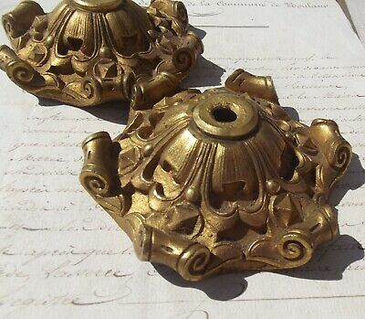 Pair of Antique French Bronze Light Fitting Candelabra Parts Roses Chandelier