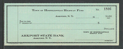 1950s TOWN OF HORNELLSVILLE HIGHWAY FUND ARKPORT STATE BANK NY CHECK { UNUSED }
