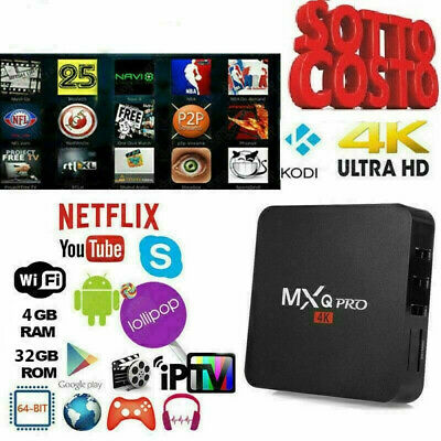 Tv Box Android Iptv 4K Full Hd 1080P 2Gb 16Gb Ram Smart Decoder Wifi Mxq Pro
