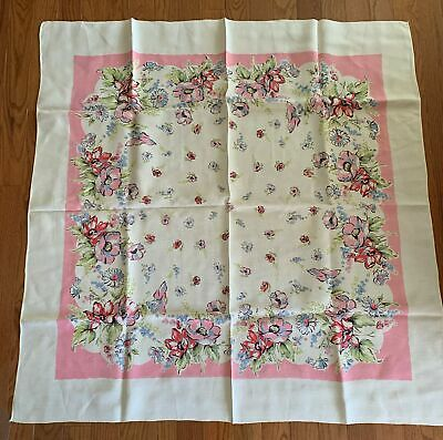 "Vintage 1940s 1950s Tablecloth Pink Blue Floral Printed Cotton 52"" X 50"""