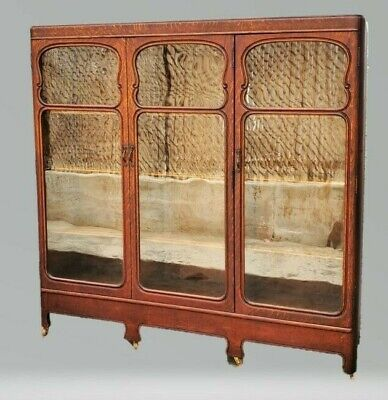 Vintage American Solid Tiger Oak 3 Door Bookcase Display China Cabinet LA Area