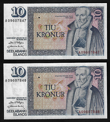 Iceland(2)Consecutive Bank Notes 10 Kronur L 29.3.1961(1981)P 48 Uncirculated