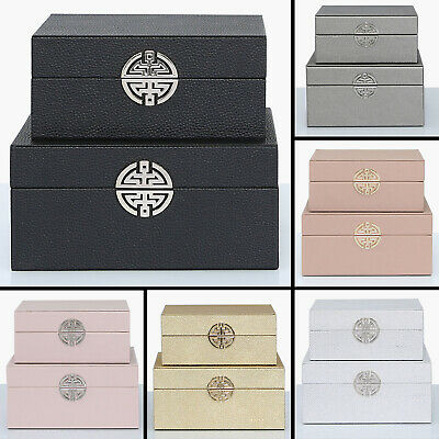 Set Of 2 Jewellery Box Faux Leather Storage Boxes Necklaces Rings Case Organiser
