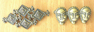 2 Art deco patina bronze brooches. Art craft. Hammered. Engraved