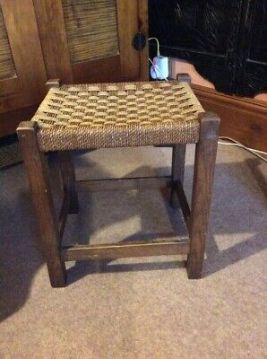 Antique solid wooden footstool, stool, woven string top, oak, sturdy