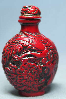Collectable Rare Coral Carved Dragon & Flower Auspicious Beautiful Snuff Bottles