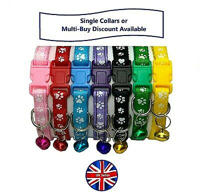 Adjustable Paw Print Cat, Kitten or Puppy Collar with Bell & Side-Release Buckle