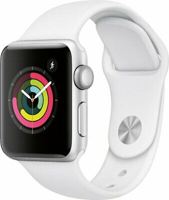 Apple Watch 38mm Series 3 GPS Smart Watch with Silver Aluminum Case White Band