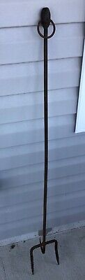 """Antique Primitive 46"""" Hand Forged Iron Hearth Fireplace Fork / Log Roller"""