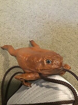 Rare Large Taxidermy Bull Frog Zippered Purse Bag