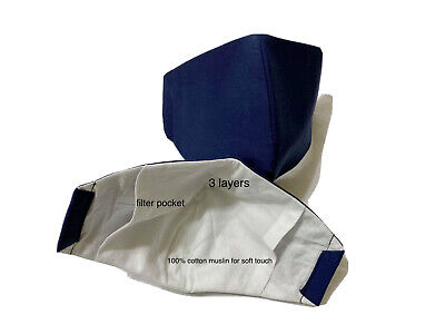 Navy Blue Cloth Face Mask Cotton Non-medical  Reusable Washable Dust Mask Fabr