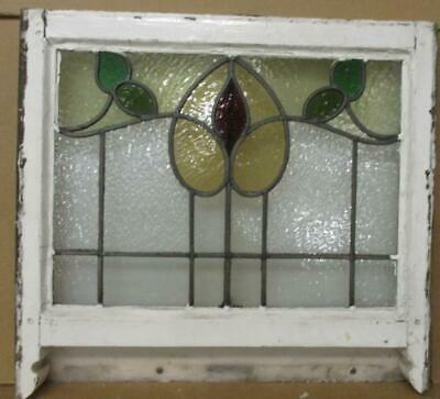 "EDWARDIAN ENGLISH LEADED STAINED GLASS WINDOW Pretty Floral Sash 22.75"" x 18'"