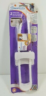 Sliding Locks with Catch for Cabinet   (White, Pack of 2) Dreambaby NEW