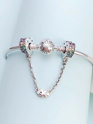 Authentic PANDORA Silver Charm Multi-Colour Arcs of Love Safety Chain 797021