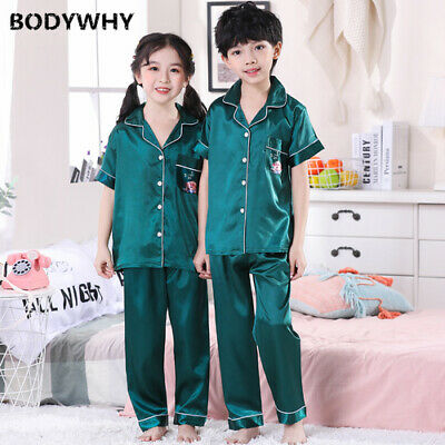 2020 Summer Short-sleeved Girl Pajamas Suit Boy Ice Silk Pajamas Fit Top Hot