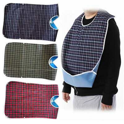 Large Adult Waterproof Mealtime Bib Protector Disability Aid Clothes Apron New