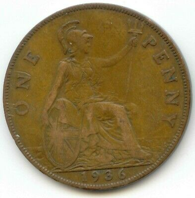 UK 1936 Bronze Penny (95.5% Copper) Pence Great Britain ----- EXACT COIN SHOWN