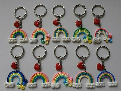 Wholesale 10 Rainbow Keyrings Large, Gifts, Party Bag. Polymer Clay, Job Lot.