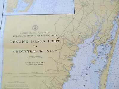 Navigational Chart Fenwick Island Light- Chincoteague OCity Inlet 1949 DelMarVa