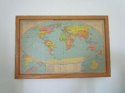 DENOYER-GEPPERT Relieve map two sided framed 17x11 reproduction USA world