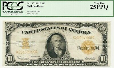 1922 $10 Large Size Gold Certificate - Attractive & Bright Pcgs Very Fine 25 Ppq