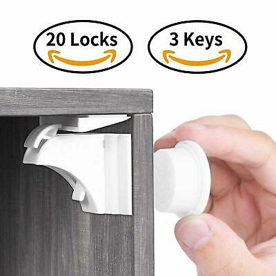 Calish Child & Baby Safety Proof Magnetic Cupboard Locks (20 Locks + 3 Keys), No