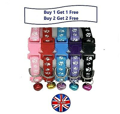 Paw Print Puppy, Small Dog or Cat Adjustable Collars, Side-Release Buckle & Bell