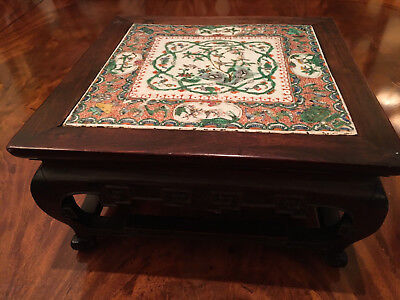 A Rare Chinese Qing Dynasty Carved Hardwood Stand Mounted with Porcelain Plaque.