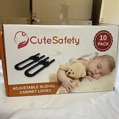 CUTESAFETY Sliding Cabinet Locks - Baby Proofing Cabinets