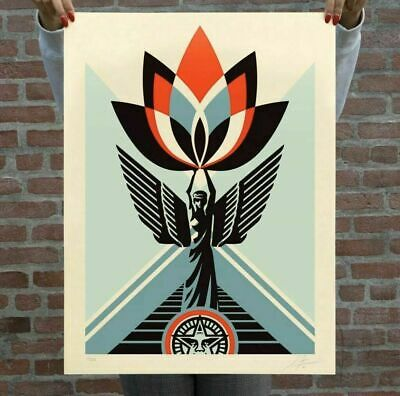 Shepard Fairey Obey Giant Lotus Angel Poster Print Signed and Numbered /500