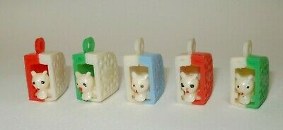 Vtg 5 PK Penny King moving Cat In Cheese vending Machine Toy Gumball Prize Charm