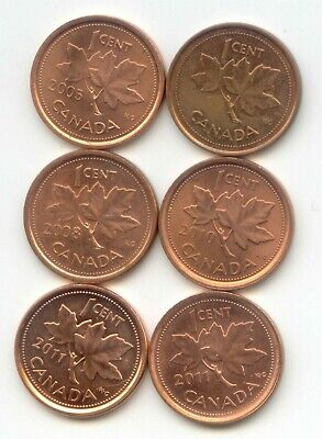 Canada  [ 2011 Mag+Non ] 2010 2008 2005 2002 One Cent Canadian Pennies Penny 1c