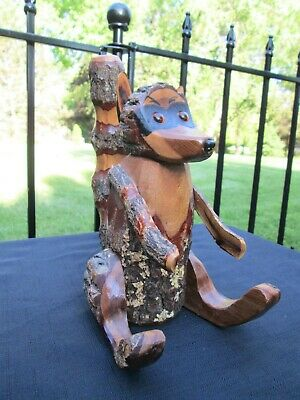"""Vintage Redwood Carved Saw Cut Wood Raccoon Statue Sculpture Amber Eyes 9"""" Tall"""