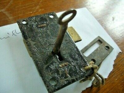 Antique Metal Cupboard-Cabinet Drawer Lock with 1 key  75mm - SECURE, 2 Lever