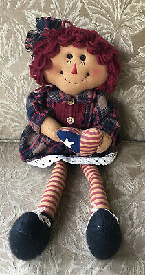 Primitive Americana Raggedy Ann Doll With Flag Heart