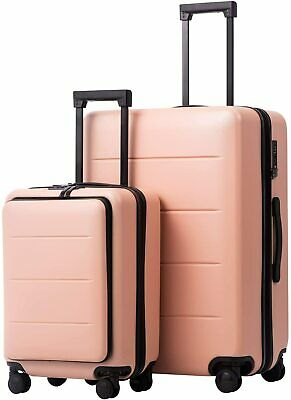 COOLIFE Luggage Suitcase Piece Set Carry On ABS+PC Spinner Trolley with pocket
