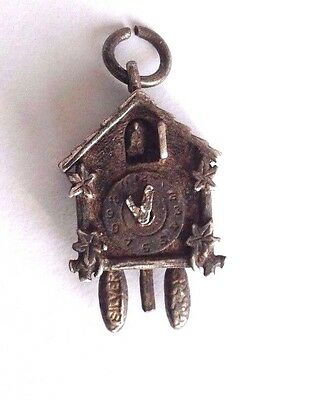 Antique, Victorian, Edwardian,  Silver Cuckoo Clock Pendant With Movement