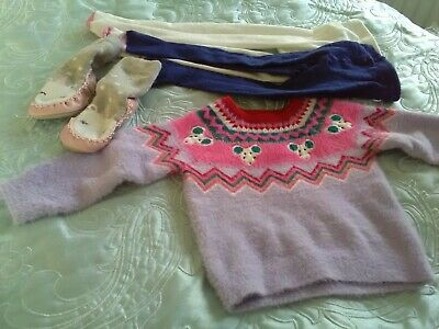 🌸12-18 Months Baby Girls Bundle M&S Jumper Tights and slipper Socks 🌸