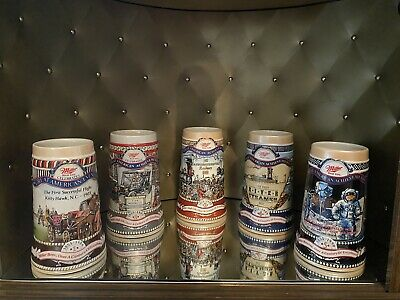 5 MILLER GENUINE DRAFT GREAT AMERICAN ACHIEVEMENTS STEINS 1-5 COLLECTION Set