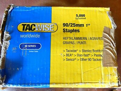 "10 x 5000 Boxes Tacwise 90 / 25mm 1"" Narrow Crown Staples Galvanised Total 21Kg"
