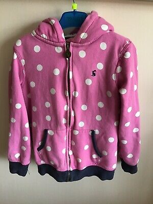 Joules Girls Spotty Zip Up Hooded Jacket Age 7-8 (more Like 6-7) Good Used Con.