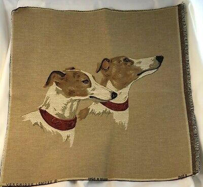 """Whippets Two Heads Red Collars Belgian Linen Tapestry 19"""" Square"""