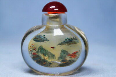 Decorative Handwork Rare Glass Carved Landscape Painting Beautiful Snuff Bottles